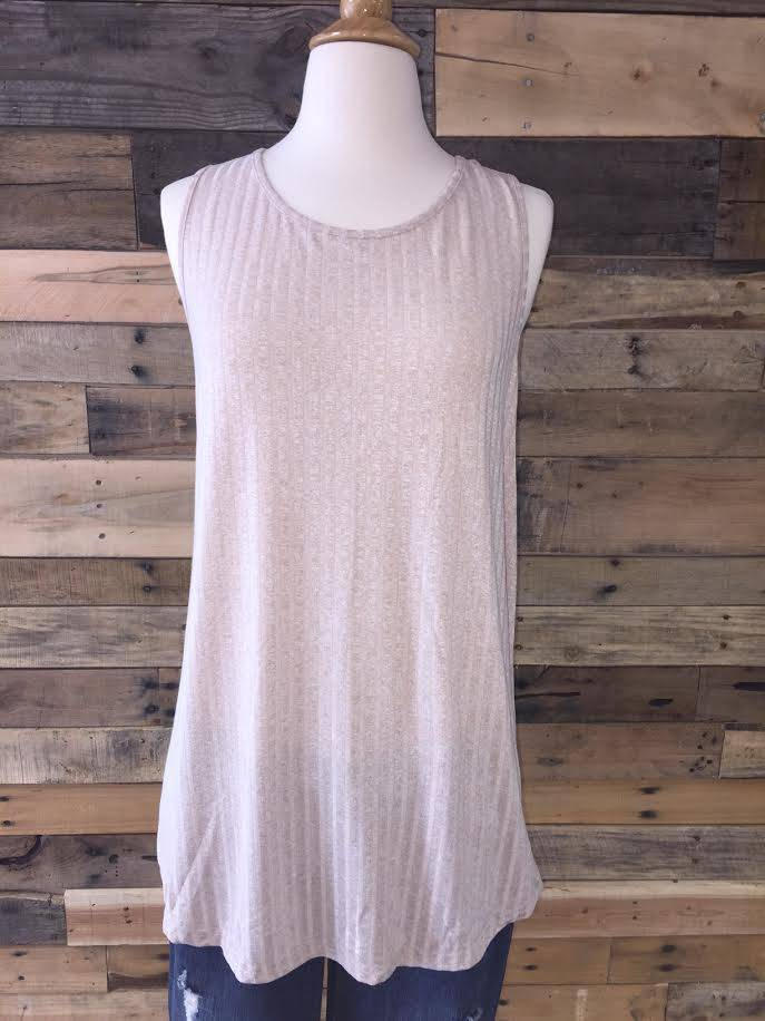 Taupe Button-Back Tank