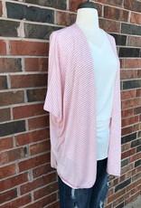 Pink/Ivory Striped Kimono