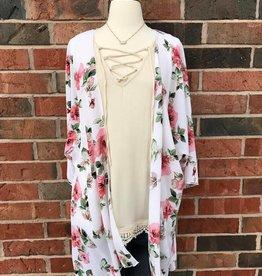 Ivory/Pink Floral Kimono