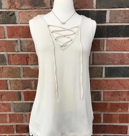 Taupe Lace-Up Tank