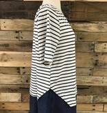 Striped Button-Back Tee