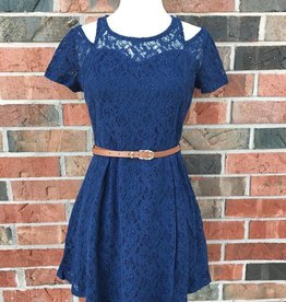 Navy Lace Dress w/ Belt