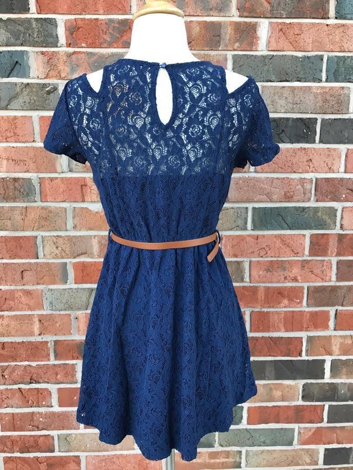 Navy Lace Dress w/ Belt