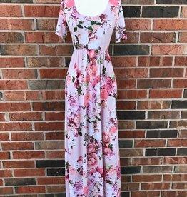 Blush Short Sleeve Floral Maxi