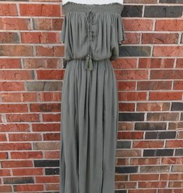 Olive Lace-Up Off Shoulder Maxi Dress