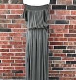 Olive Lace-Up Off Shoulder Maxi Dress