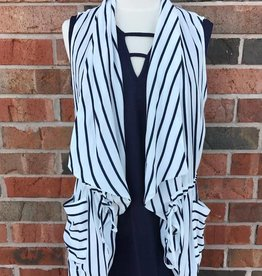 Navy Striped Vest