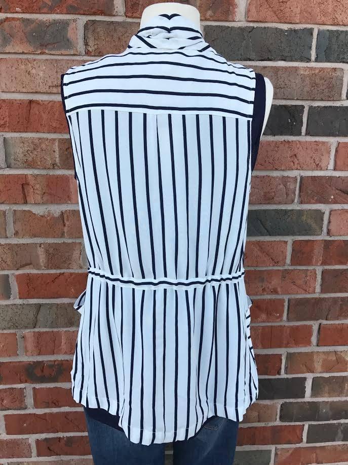 Navy Striped Vest
