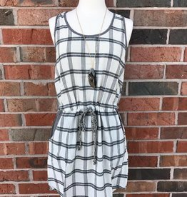 Black/Taupe Plaid Dress