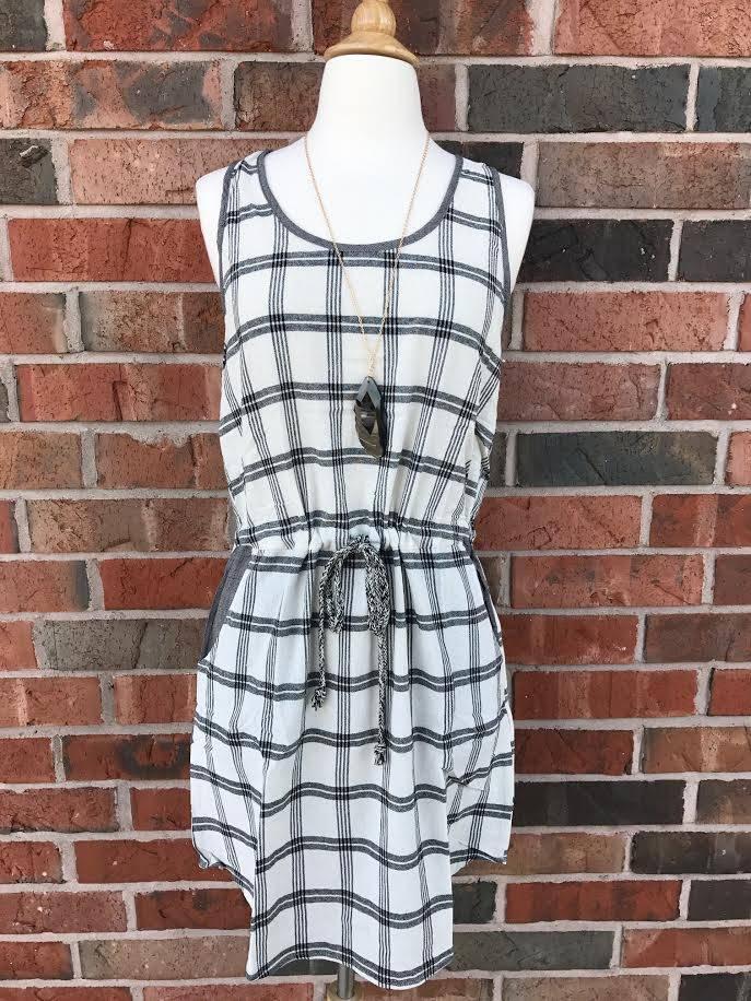 Black/Taupe Plaid Dress
