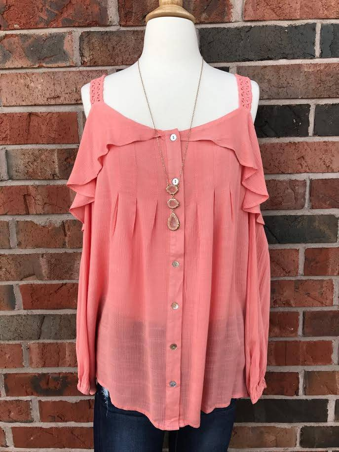 Coral Button-Down Cold Shoulder