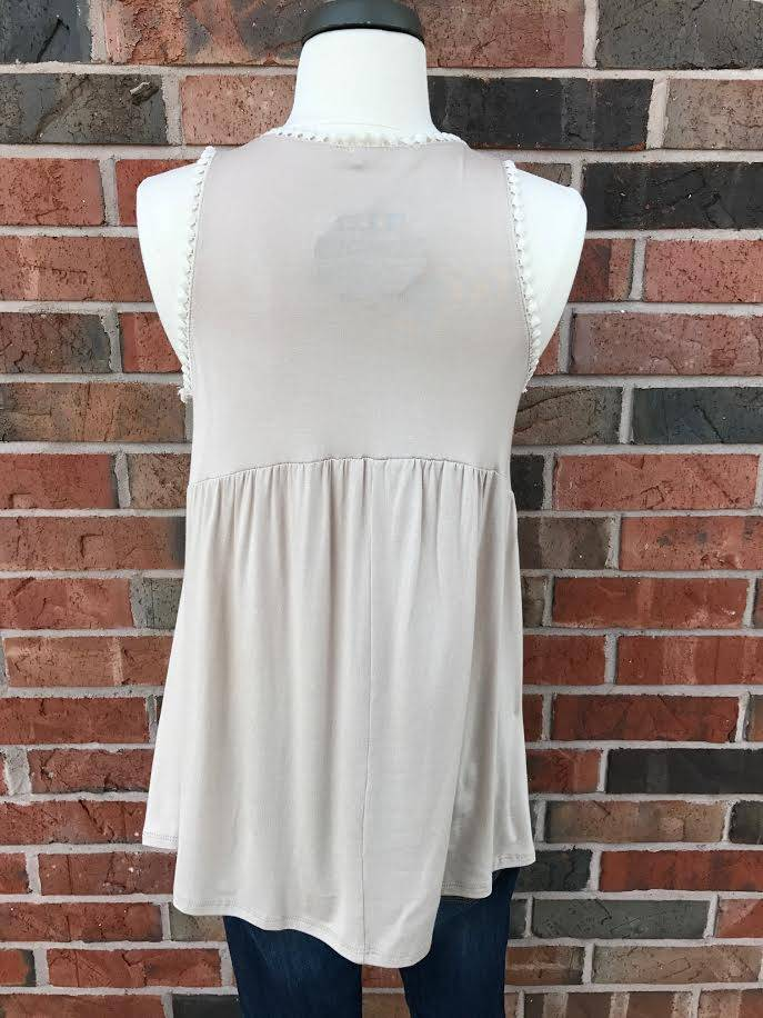 Taupe/Cream Trimmed Tank