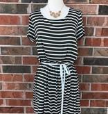 Olive Striped T-Shirt Dress