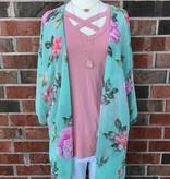 Mint Floral Kimono