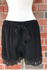Black Crochet Trim Shorts