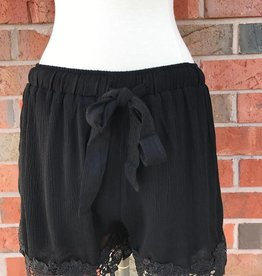 Black Crochet Trim Shorts