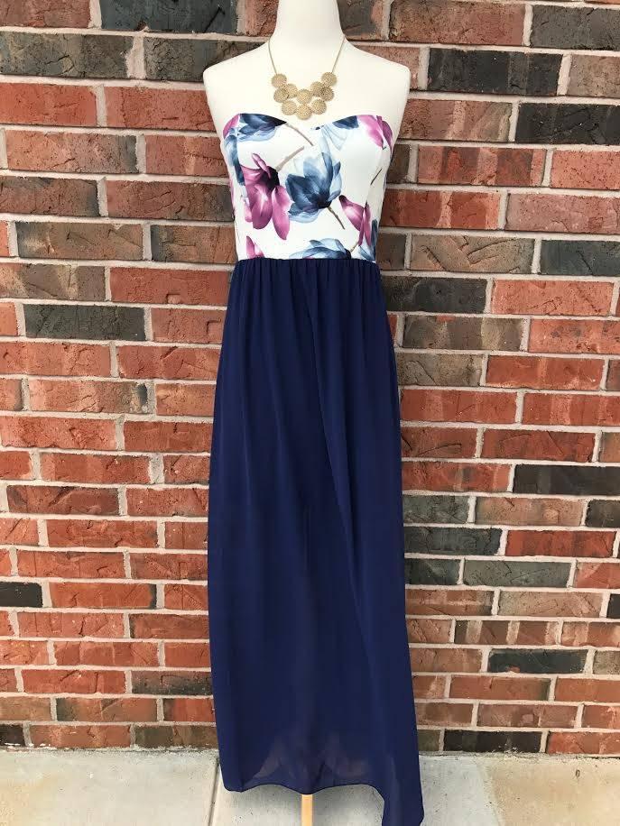 Navy Floral Maxi Dress