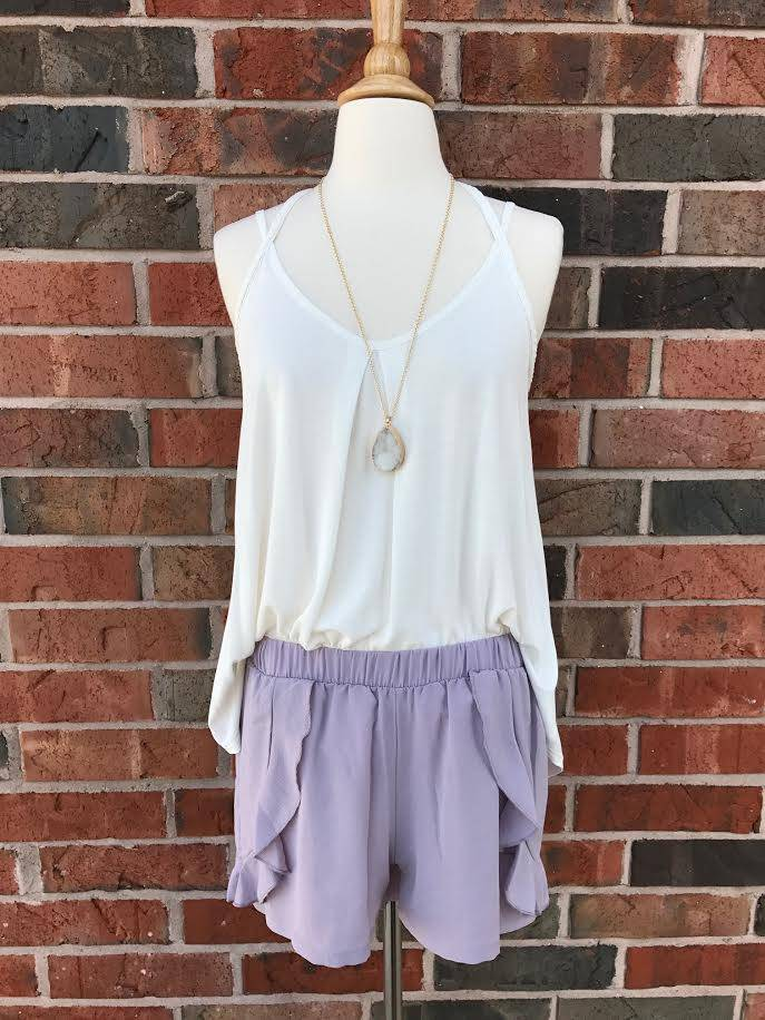 Lilac Ruffle Shorts