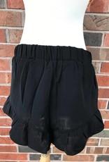 Black Ruffle Hem Shorts