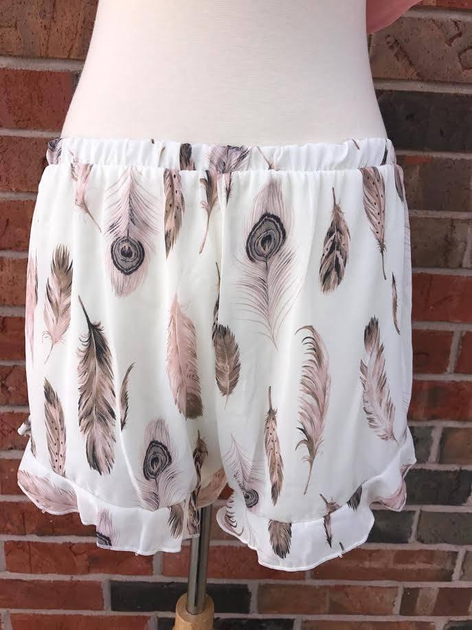 Ivory/Blush Feather Shorts