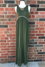 Olive Crochet Trim Maxi Dress