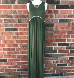Olive Crochet Trim Maxi Dress