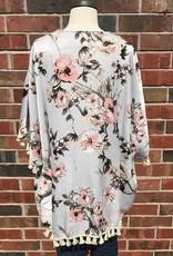 Grey Floral Kimono
