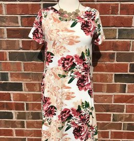 Ivory Floral Cross Back Dress