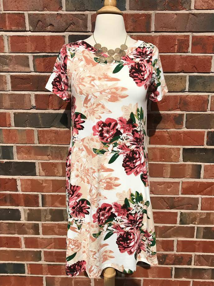 Ivory Floral Cross Back Dress