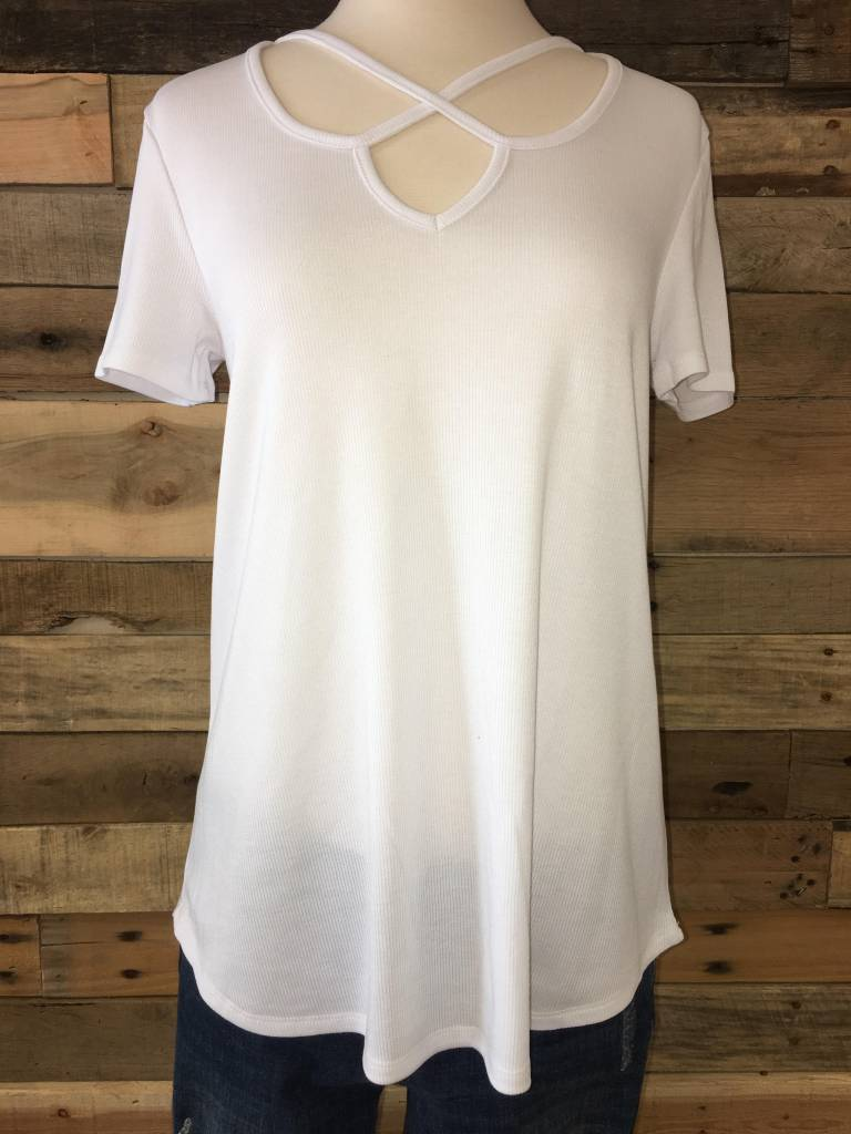 White Criss Cross Tee