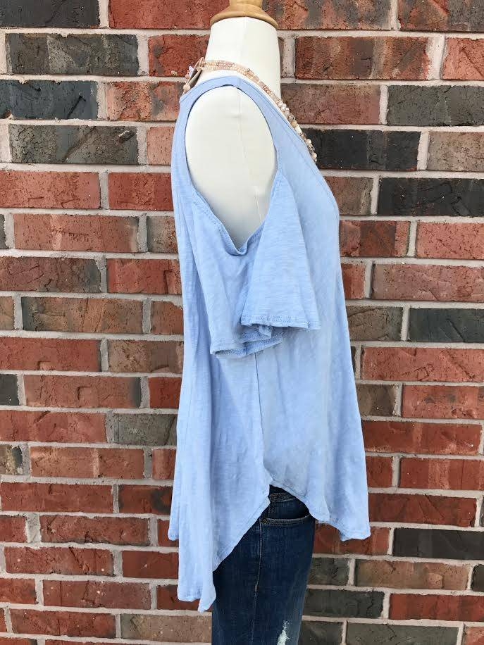 Light Blue Cold Shoulder Top
