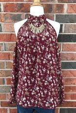Burgundy Floral Cold Shoulder Top