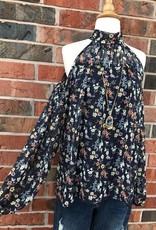 Navy Floral Cold Shoulder Top
