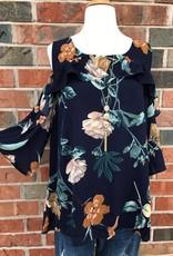 Plus Navy Floral Cold Shoulder Top