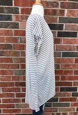 Plus Grey Striped Top