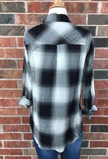 Black/Ivory Plaid Button-Up
