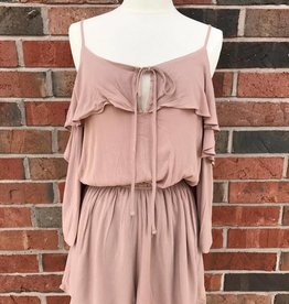 Taupe Cold Shoulder Romper