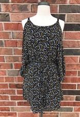 Navy Floral Cold Shoulder Dress