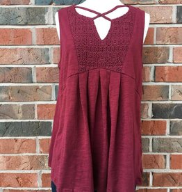 Cranberry Criss-Cross Tank