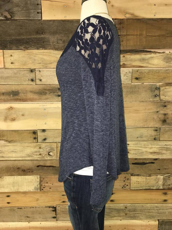 Navy Lace Detail Top