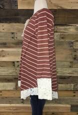Rust Striped Lace Hem Top