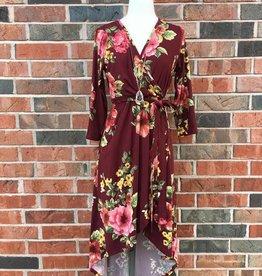 Burgundy Floral High-Low Dress