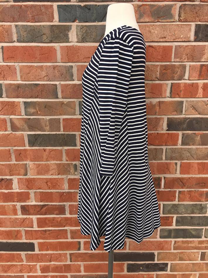 Navy Striped Criss-Cross Dress