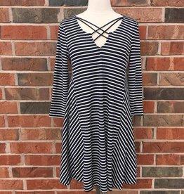 Navy Striped Criss-Cross Dress