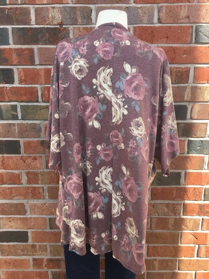 Burgundy Floral Kimono