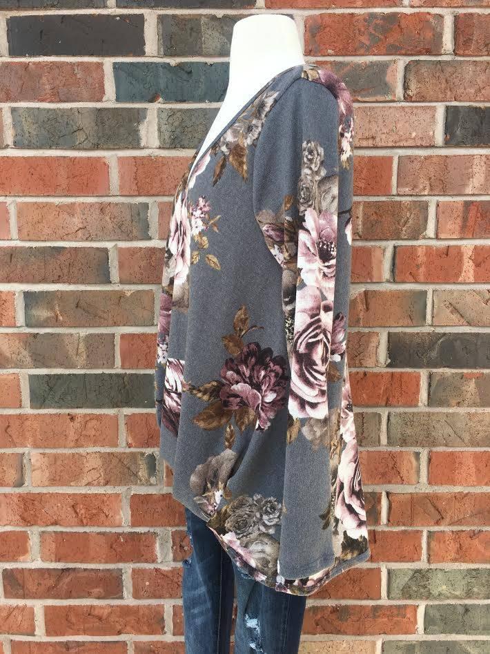Grey Floral Longsleeve Top