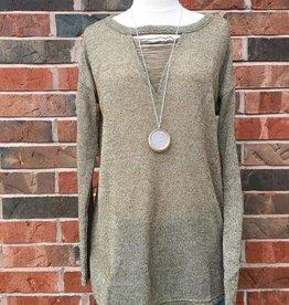 Olive Keyhole Sweater