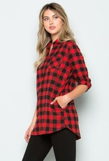 Red/Black Plaid Top