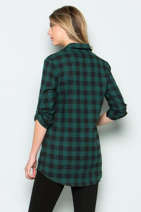 Hunter Green Plaid Top