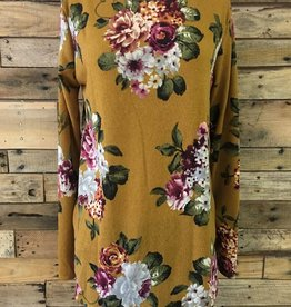 Mustard Floral Tunic Sweater